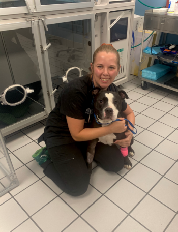 """Heat Stroke Patient """"Groot"""" and Critical Care Specialist, Dr. Heather Honious."""